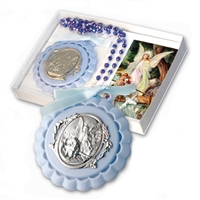 Baptism Guardian Angel Crib Medal with Blue Rosary PB105BL