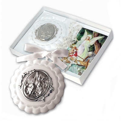 Baptism Guardian Angel Crib Medal with Clear Bead Rosary PB105WH