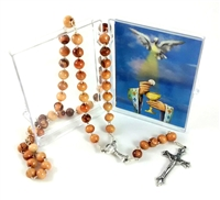 First Communion Olive Wood Bead Rosary with Holy Card