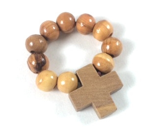 Hand Made Olive Wood One Decade Finger Rosary