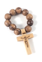 Large Olive Wood Bead Finger Rosary