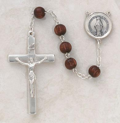 Sterling Silver Dark Brown Wood Rosary