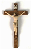 "17"" Cold-Cast Bronze/Lightly Hand-Painted Crucifix"