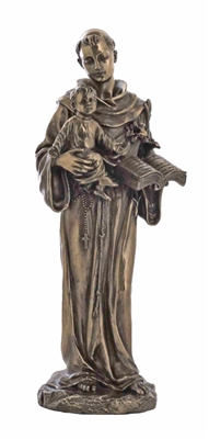 St. Anthony and Child in cold-cast bronze, 10.5inches