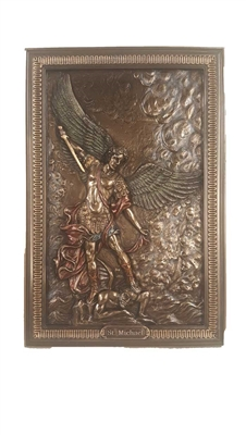 "St. Michael Plaque Cold Cast Bronze Lightly Hand-Painted 6x9"" STANDS/HANGS"