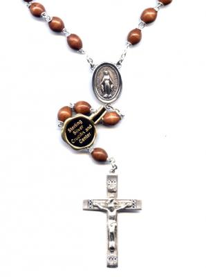 Sterling Silver Wood Bead Rosary