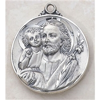 Huge 4 cm Round  Sterling Silver St. Joseph Medal SS561