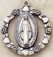 Miraculous Medal -- 2.7cm -- Sterling Silver
