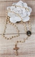 Imitation Pearl Bead Gold Color Relic Rosary from Jerusalem