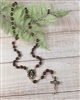 Dark Wood Bead Gold Color Relic Rosary from Jerusalem