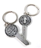 Saint Benedict Medal Key Shaped Keychain