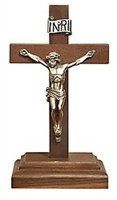 "6.25"" Walnut Crucifix Pewter Crucifix W04P06"