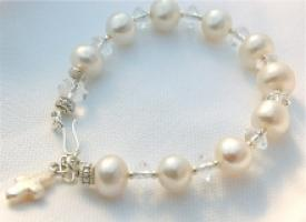 Fresh Water Pearl and  Crystal Rosary Bracelet