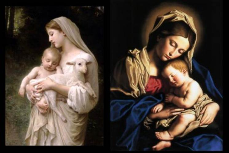 Mary Holding Jesus And Lamb Or Mary Holding Jesus Sleeping Tile Wall Plaques