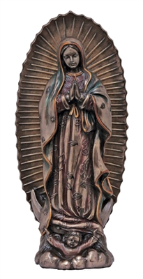 Our Lady of Guadalupe, Cold-Cast Bronze, Lightly Hand-Painted, 6 inches