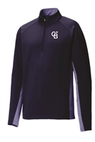 Mens Embroidered Stretch Contrast 1/2-Zip Pullover