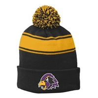 Hawks Embroidered Striped Pom Pom Hat
