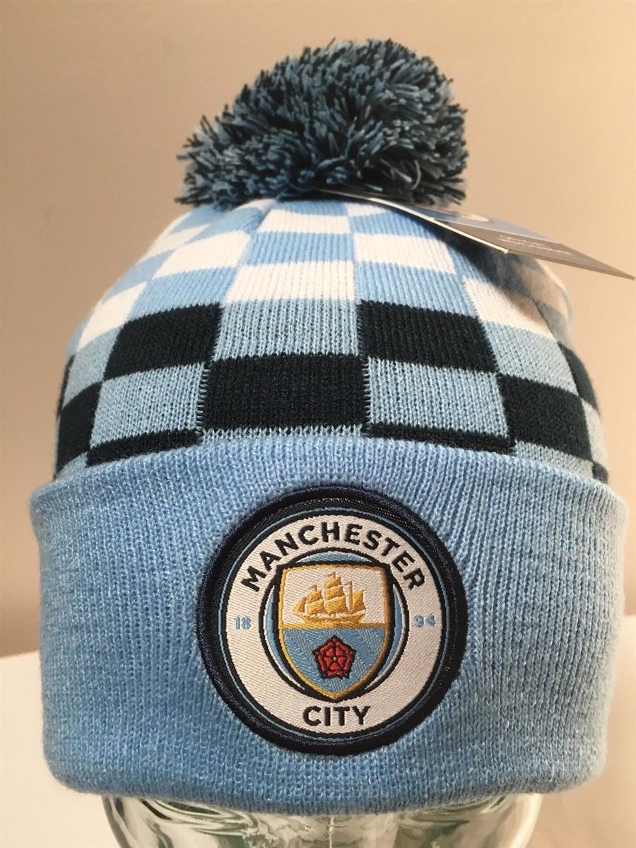 Manchester City F.C. Checkered Beanie Ski Hat  1835d5ca460