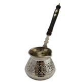 Engraved Turkish Coffee Pot with Inlays on Handle - Nickelized Copper