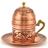 Engraved Turkish Coffee Cup - Natural Copper