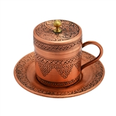 Engraved Turkish Coffee Cup with Grapes - flat top