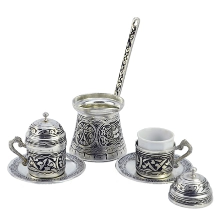 Engraved Turkish Coffee Set for Two - Nickelized
