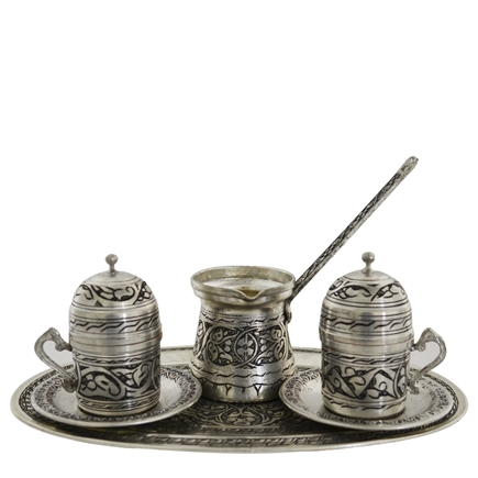 Engraved Turkish Coffee Set for Two w/ Tray - Nickelized