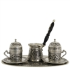 Engraved Turkish Coffee Set for Two w/ Tray - Nickelized w/ Wooden Handle