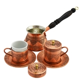 Engraved Turkish Coffee Set with Grapes - Flat top