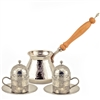 Hand Hammered Turkish Coffee Set for Two - Nickelized