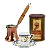 Turkish Coffee Set for One with Mehmet Efendi coffee - Blue and Gold