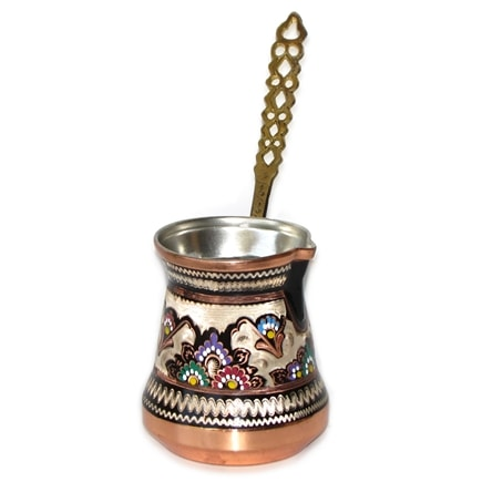 Decorated Turkish Coffee Pot - XL 26 oz - Brass