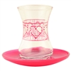 Tea Glass with Hearts and Saucer