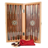 Walnut Backgammon Set with Natural Mother of Pearl