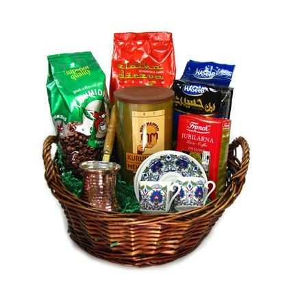 Turkish Coffee Sampler Basket with A Set for Two