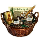 Turkish Coffee Basket with Decorated Set, Coffee & Delight