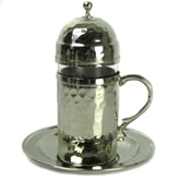Turkish Coffee Water Glass with lid - nickel