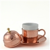 Hand Hammered Turkish Coffee Cup with lid - Copper