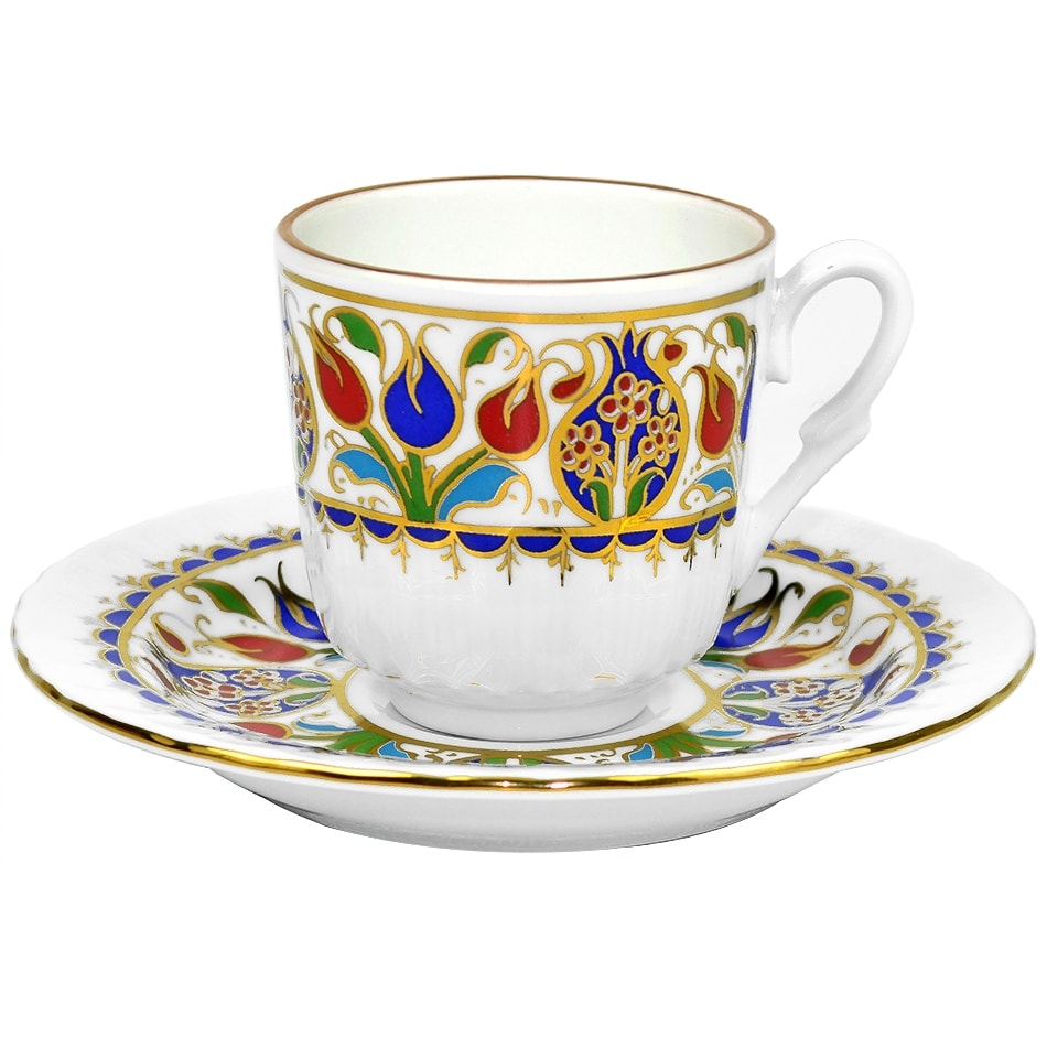 Turkish Coffee Cup With Saucer Porcelain Tulip 3 6 Oz Size