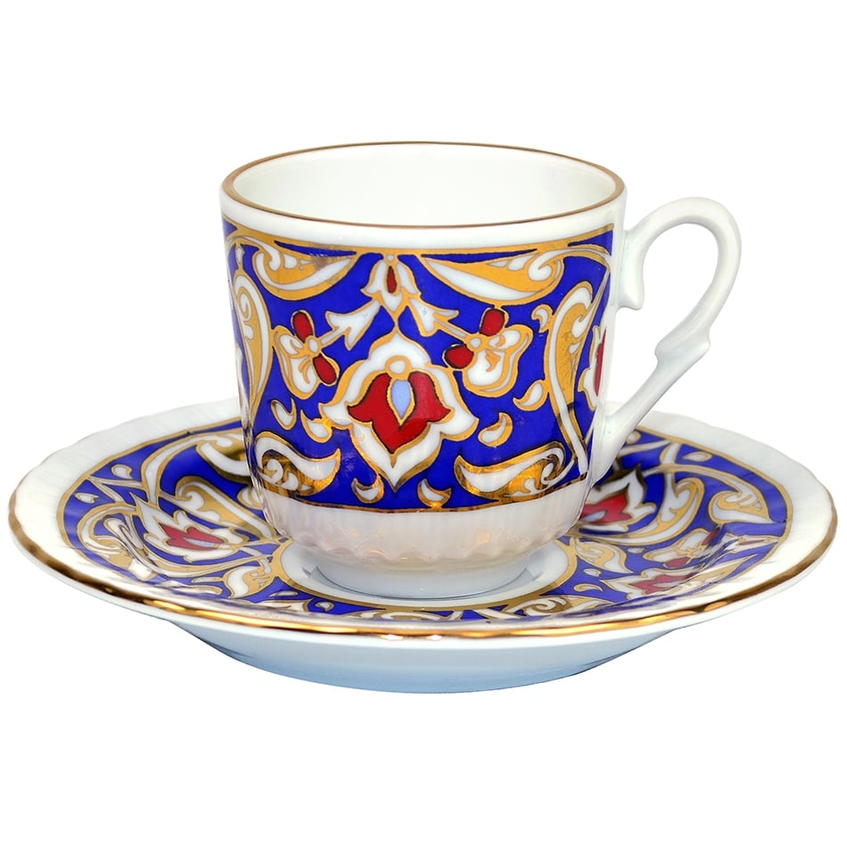 Turkish Coffee Cup With Saucer Porcelain Blue Gold