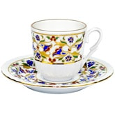 Turkish Coffee Cup with Saucer (Porcelain) - Carnation II