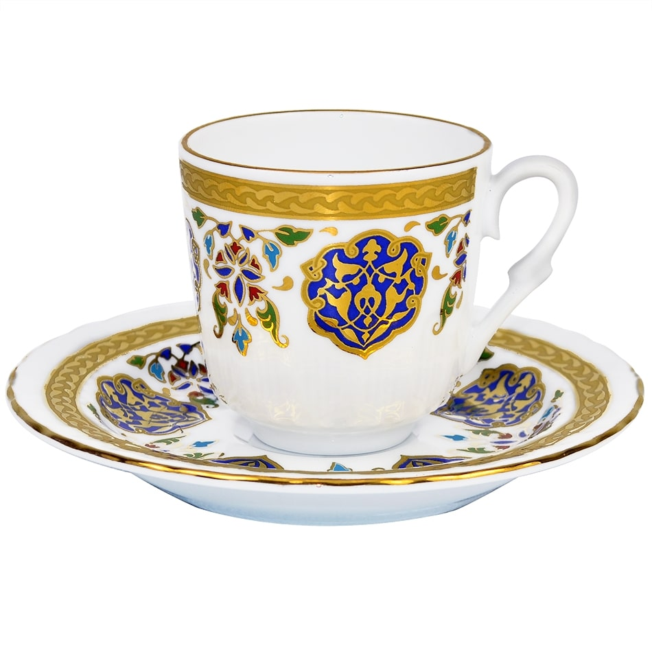 Turkish Coffee Cup With Saucer Porcelain Armor