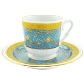 Turkish Coffee Cup with Saucer (Porcelain) Topkapi-Sky
