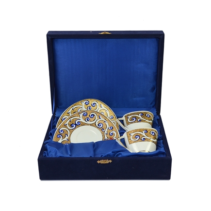 Hand made Turkish Coffee Cups for 2 in velvet box - Gold