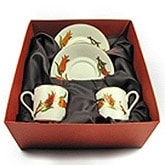 Turkish Coffee Cup Set for 2 with Tulips in a Gift Box