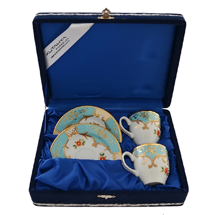 Turkish Coffee Cup Set for 2 in a Velvet Box