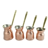 Copper Turkish Coffee Pot with Electrolytic Tinning - Wide Mouth Set