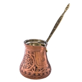 Engraved Turkish Coffee Pot - Natural Copper