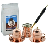 Engraved Turkish Coffee Pot with Wood Handle and Inlays - Red Copper