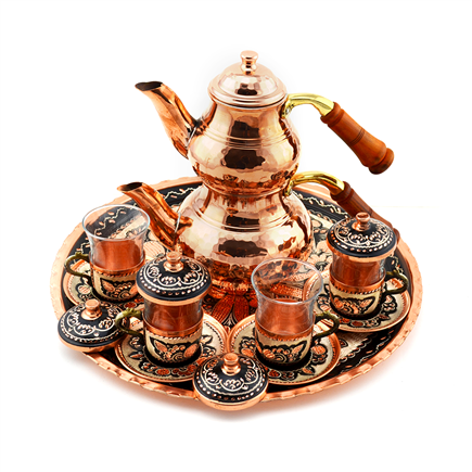 Erzincan Design Turkish Tea Set with Tray